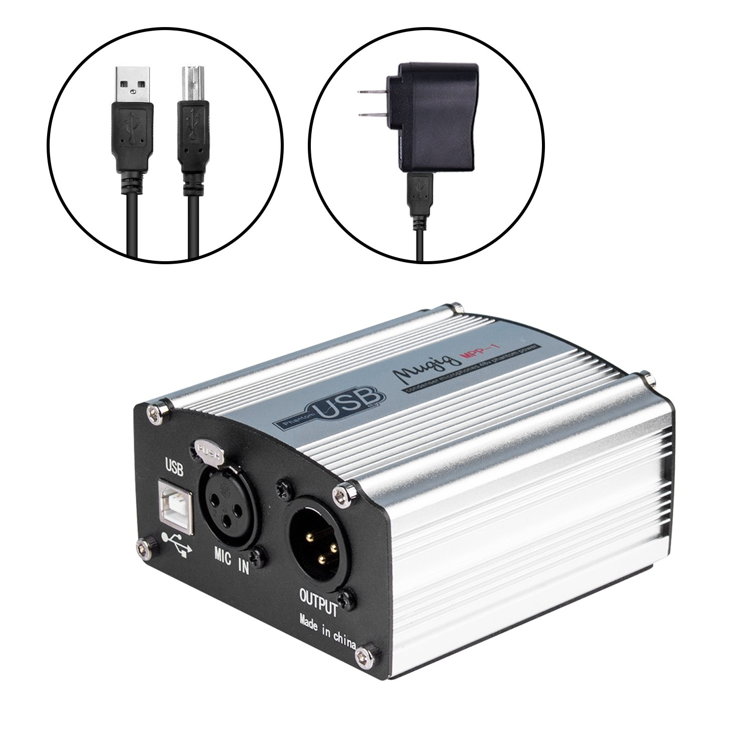 Mugig Phantom Power Supply with USB cable for Condenser Microphone, 48V Adaptable Professional Power Supply for Studio Music Recording mpp-1