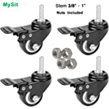 """MySit 2"""" Casters with Brake Lock (Threaded Stem Bolt M10x25), Heavy Duty Swivel Stem Brake Caster Wheels With Hardwares Nuts for Shopping Carts Trolley - Pack of 4"""
