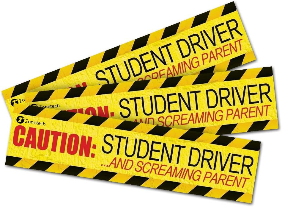 12 X 3 /& 35 Mil Thick Zone Tech 3-Pack Caution Student Driver and Screaming Parent Funny Magnetic Bumper Sticker Sign for Student Driver