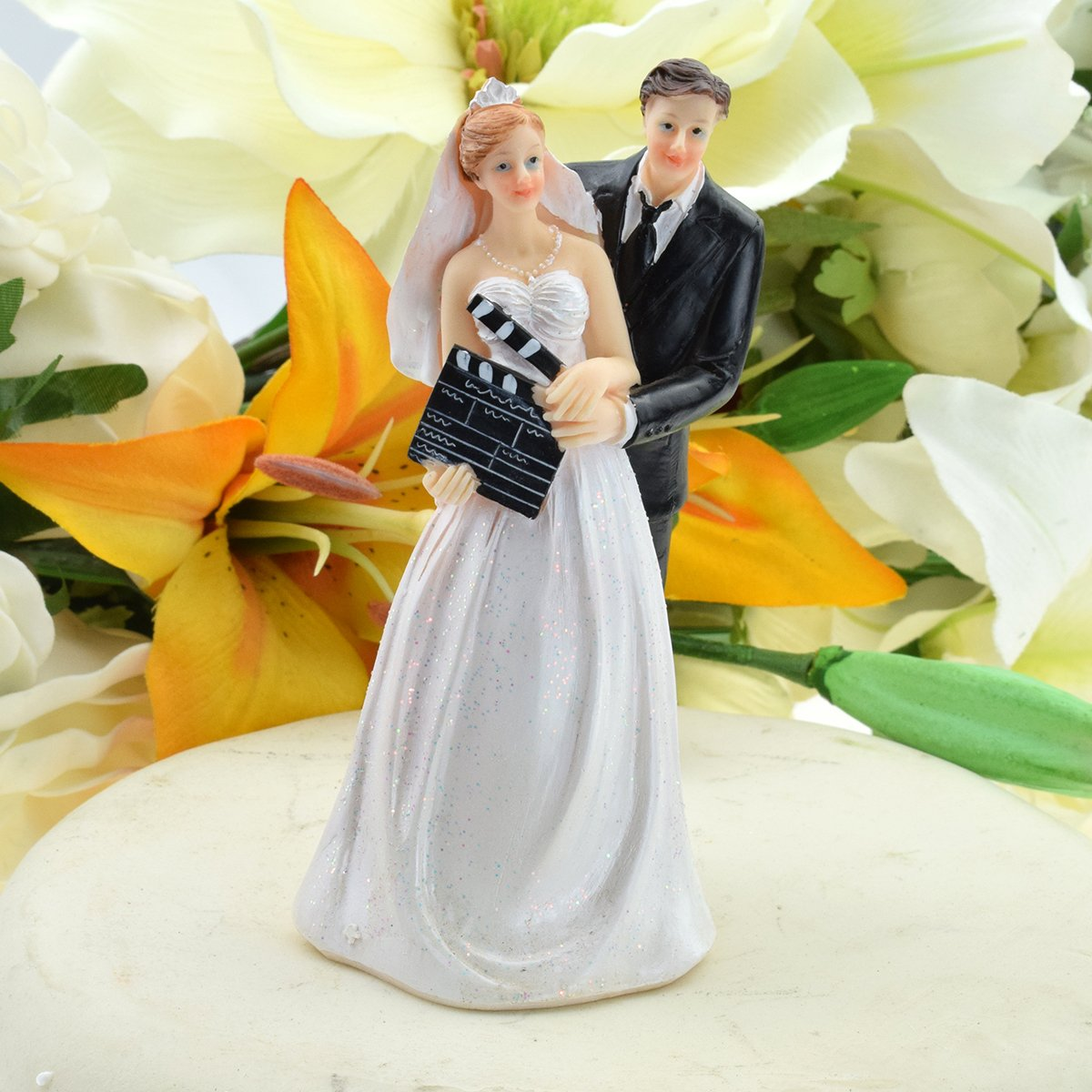 Bride & Groom Filmstars with Clapperboard Cake Topper 13.5 cm Tall ...