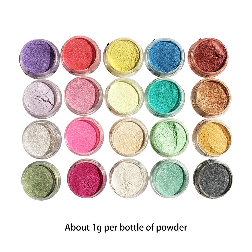 siwetg 20 Pezzi//Set di Polvere perlata Manuale Gioielli riempimento Cristallo Fango Resina epossidica colorante pigmento