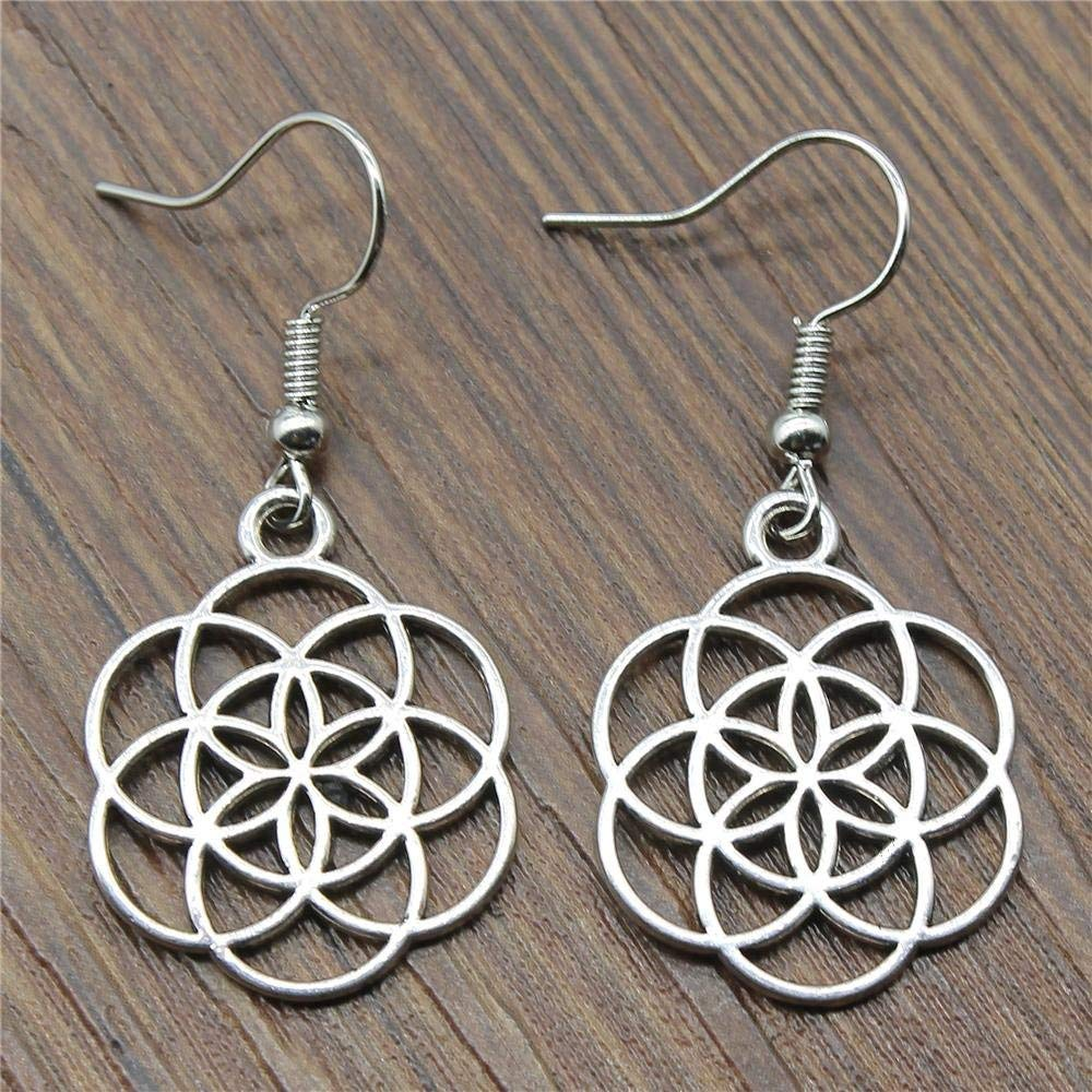 Taliyah 1 Pair Small Flower of Life Drop Earrings for Girls with Earring Cap