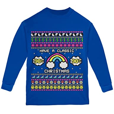 retro 90s nostalgia classic ugly christmas sweater youth long sleeve t shirt royal ysm - Classic Christmas Sweaters
