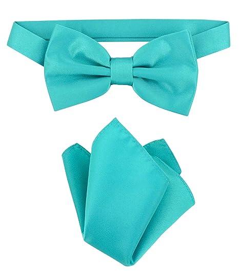 651ef7893dfd Image Unavailable. Image not available for. Color: Vesuvio Napoli BowTie  Solid Teal Color Mens Bow Tie & Handkerchief