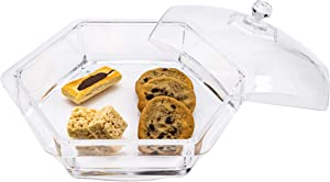 Huang Acrylic Clear Hexagon Serving Tray with Cover