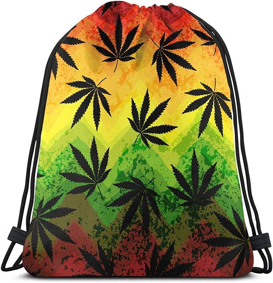 senob Hoja de Marihuana Colores Rasta Unisex Mochila portátil con cordón Mochila Bolsos de Hombro Ligero Viaje Deporte Yoga Mochila