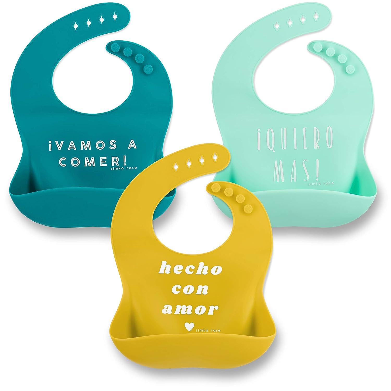 Amarillo Babero de Silicona con C/ómodo Bandeja Protector Hora de Comer para Adultos