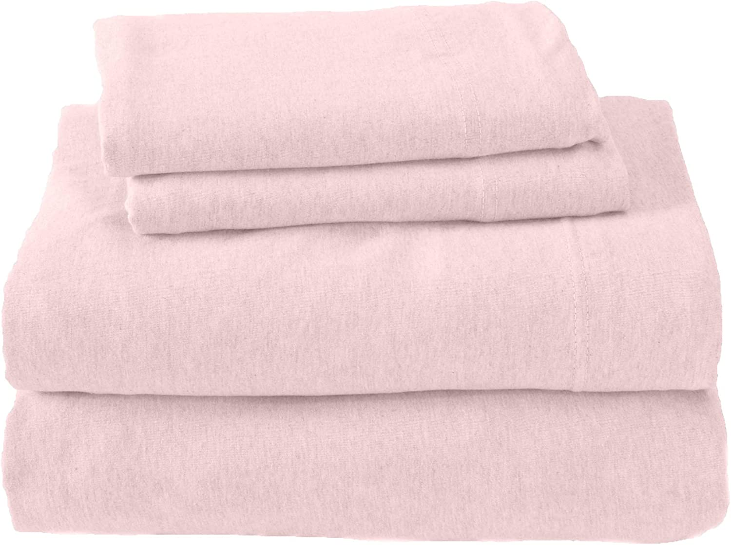Jersey Knit Sheets. All Season, Soft, Cozy Queen Jersey Sheets. T-Shirt Sheets. Jersey Cotton Sheets. Heather Cotton Jersey Bed Sheet Set. (Queen, Pink)