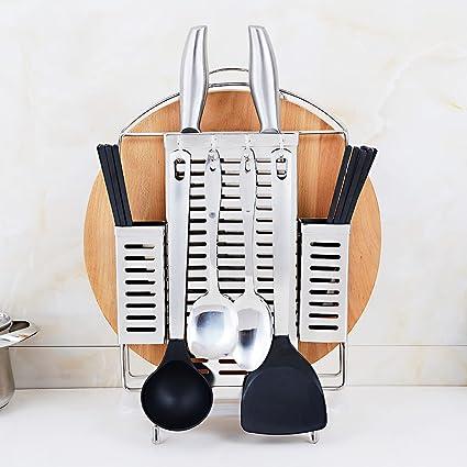 HYLR Multifunción 304 acero inoxidable Estante de cocina Artículos de cocina Con ganchos, ranuras para cuchillos, ...