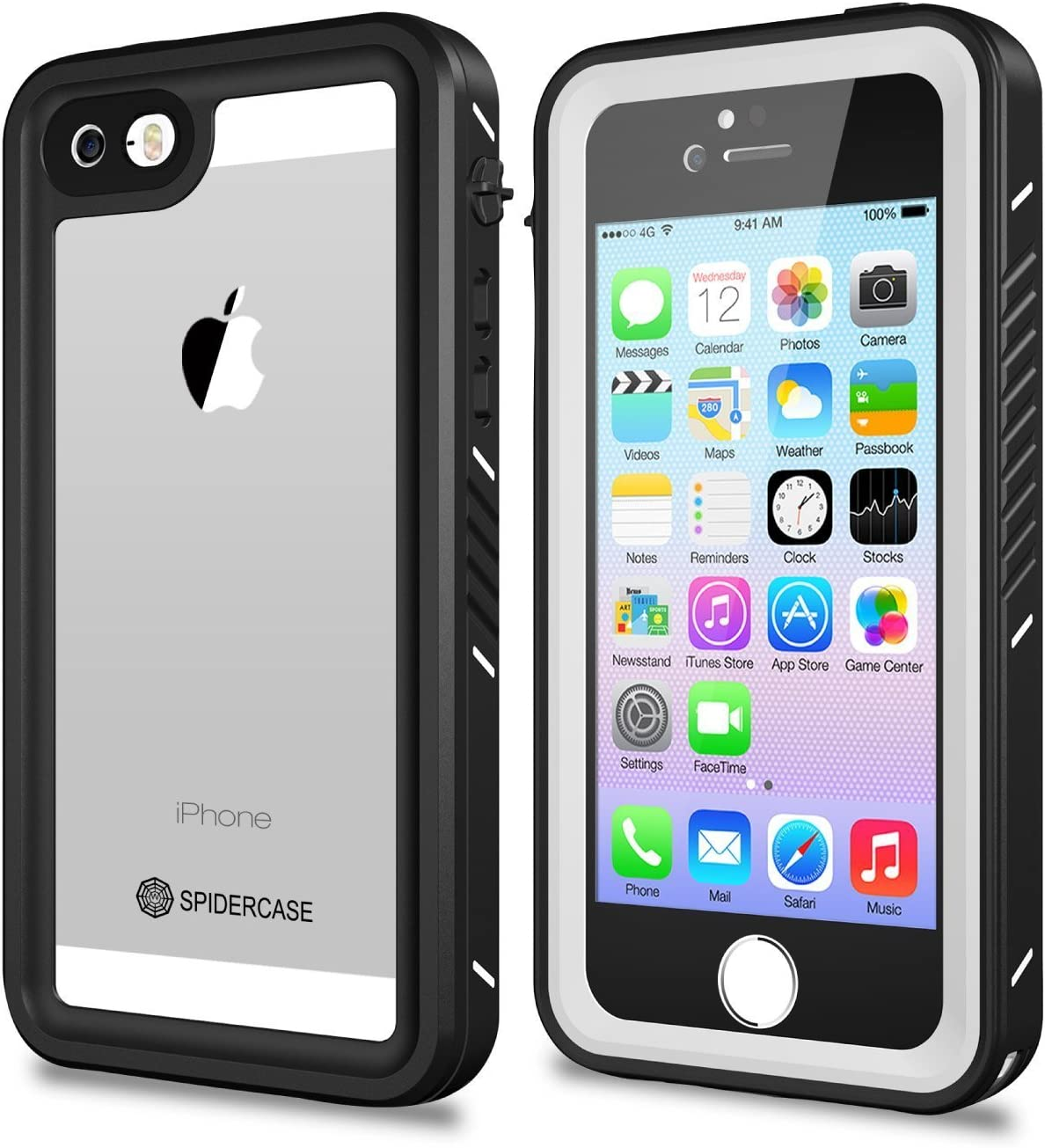 SPIDERCASE iPhone 5/5S/SE Waterproof Case, Full Body Protective Cover Rugged Dustproof Snowproof Waterproof Case with Touch ID for iPhone 5S 5 SE, NOT for SE 2020 4.7 INCH (White&Clear)
