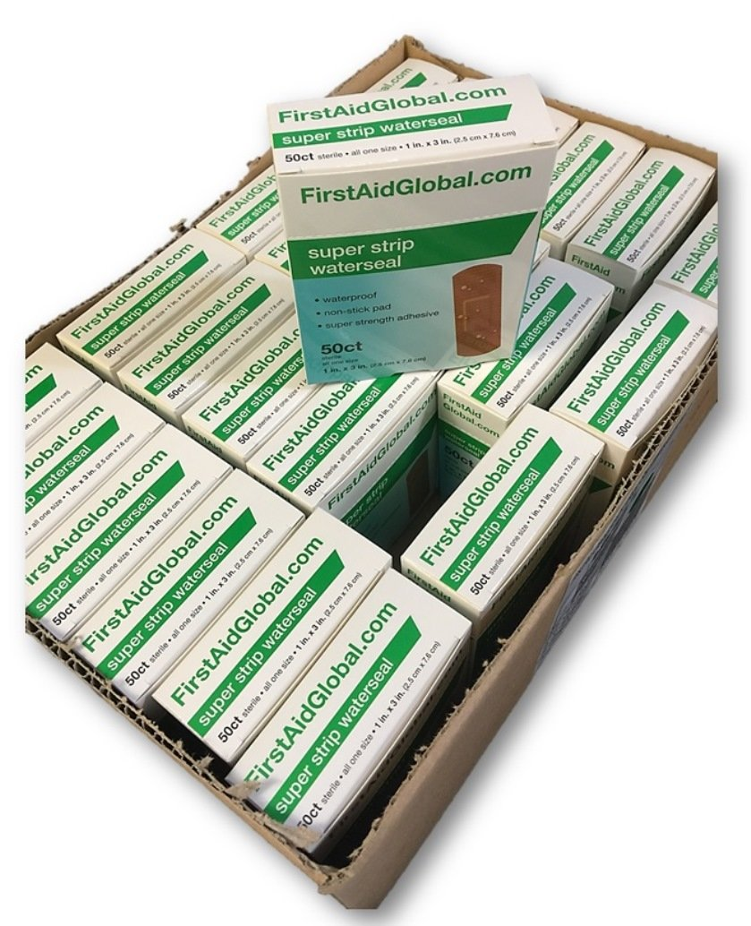 Super Strip Waterseal Bandages by First Aid Global, 50/box, 24 boxes/case