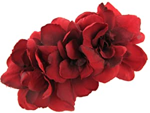 Triple Red Apple Blossom Silk Flower Hair Clip with Teeth