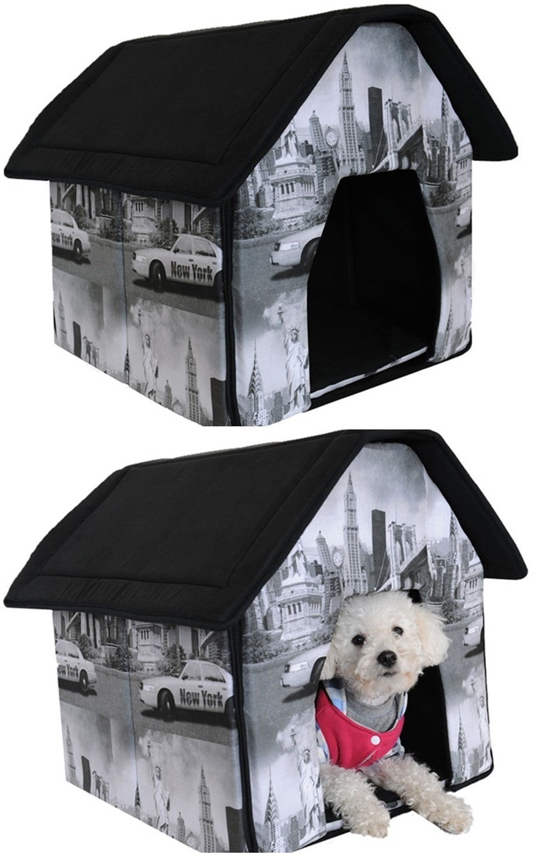 1 Set Perfectly Popular Indoor Pet House Dog Tent Portable Bed Soft and Warm Fabric Style New York