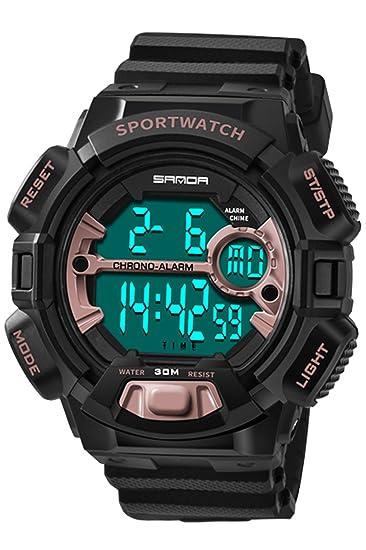 Reloj de pulsera para hombre, digital, deportivo, militar, electrónico, resistente al