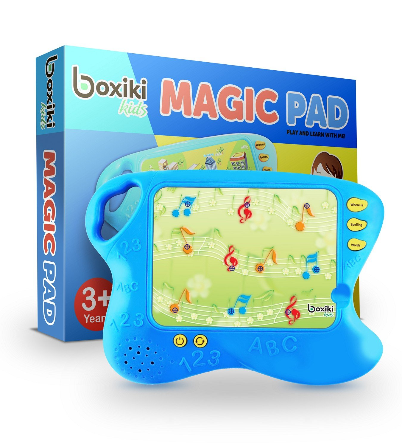 Boxiki kids Toddler Tablet and Learning Pad with 10 Educational Cards | Kids Smart Pad and Board Game w/ Touch and Learn Functions | Learn Animals, Colors, Words, Spelling and More