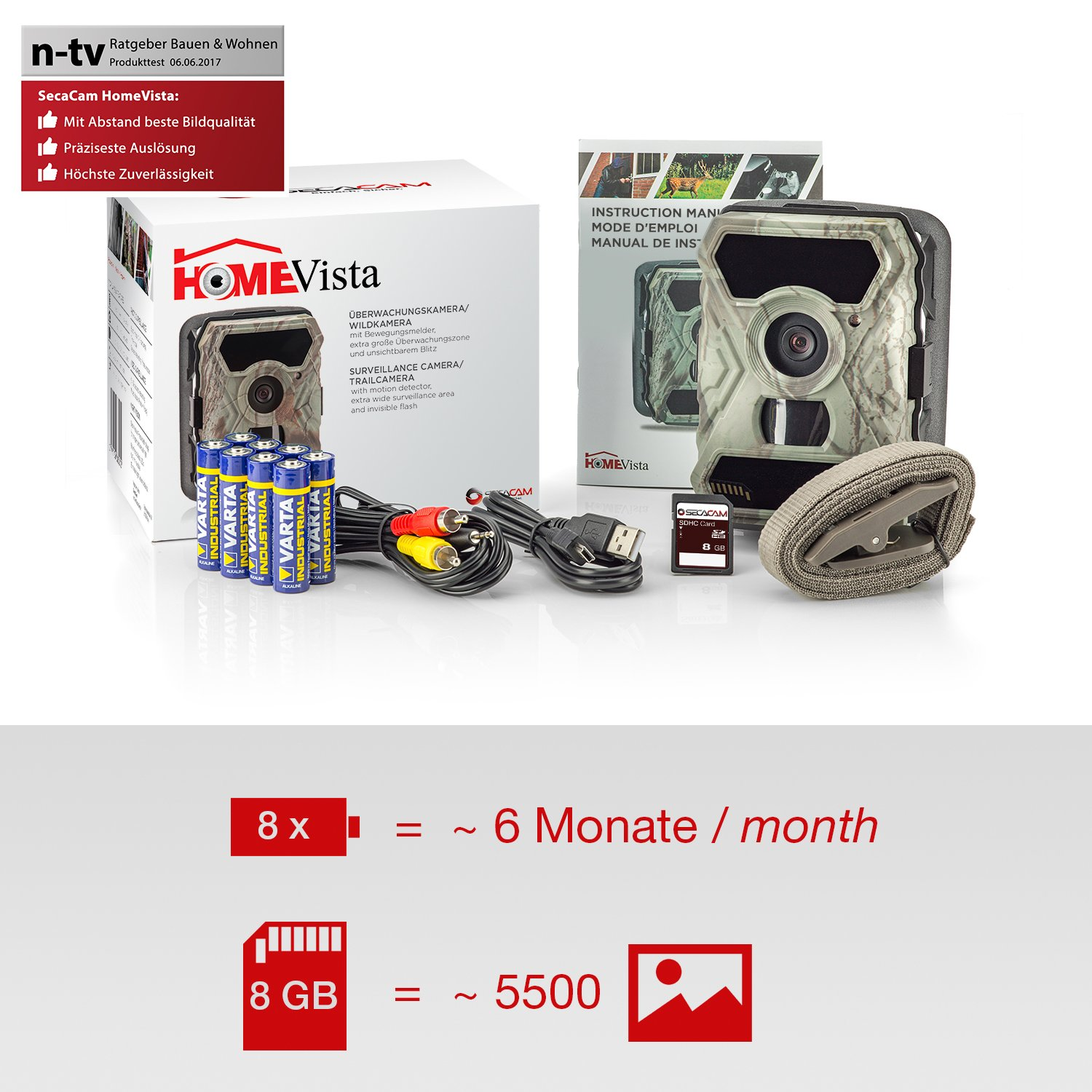 Premium Pack . SecaCam HomeVista Full HD 100 Degree Wide-Angle Game and Trail Camera
