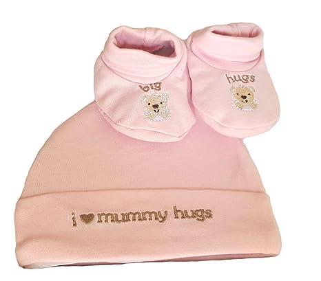 Recién nacido 100% algodón Set de regalo gorro y en plata Set 50% MUMMY y 50% Daddy rosa Pink set