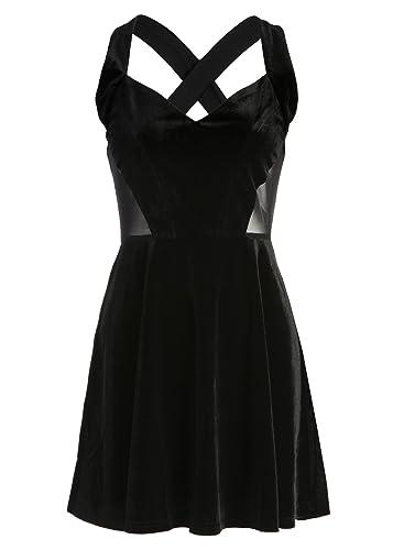 Pretty Attitude Women's Black Velvet Cutout Mesh Dress