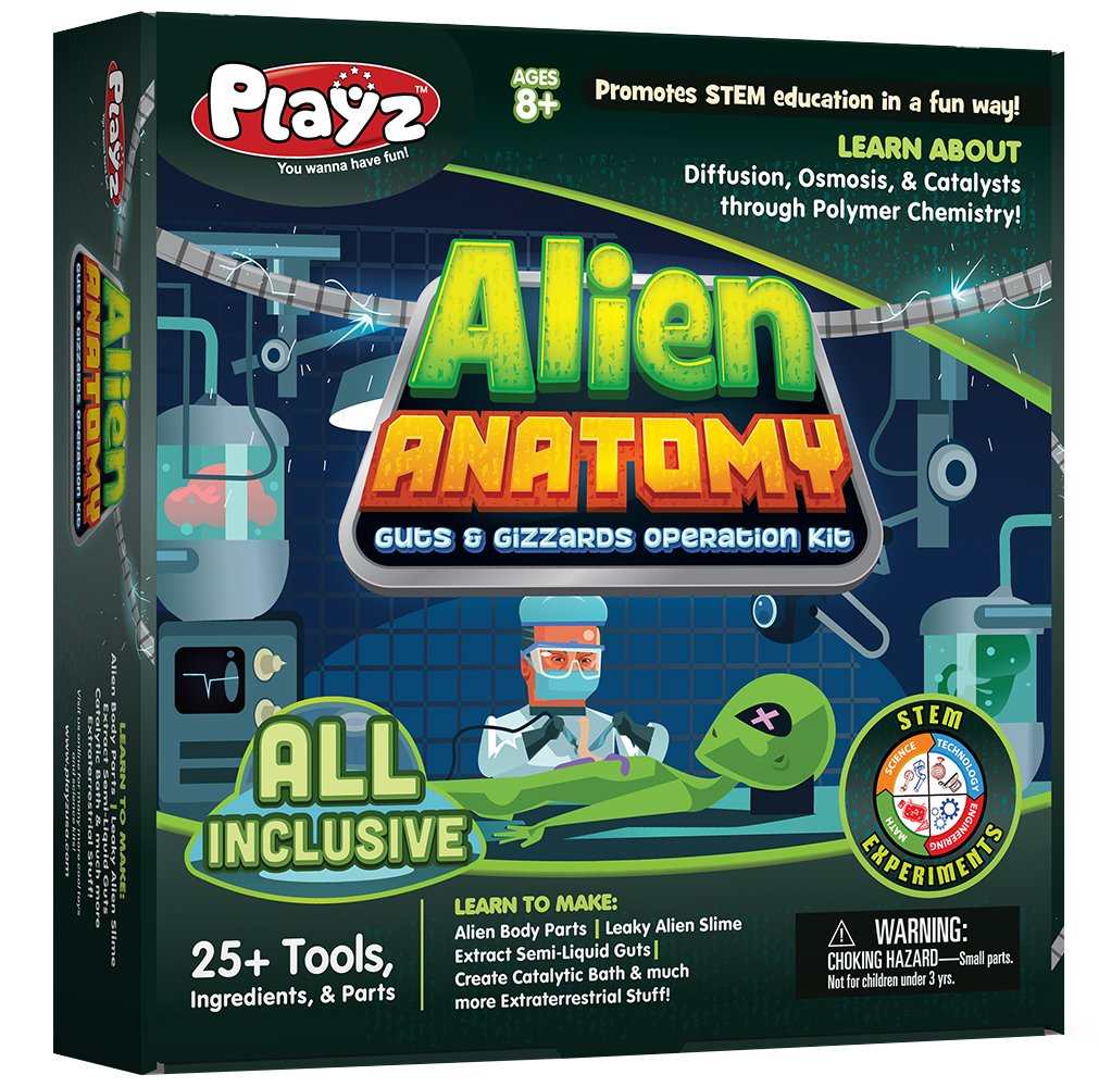 Playz Alien Anatomy Guts & Gizzards Operation Science Kit - 25+ Tools to Make Alien Body Parts & Slime, Extract Yucky Guts, & Create Catalytic Bath for Boys, Girls, Teenagers, & Kids by Playz