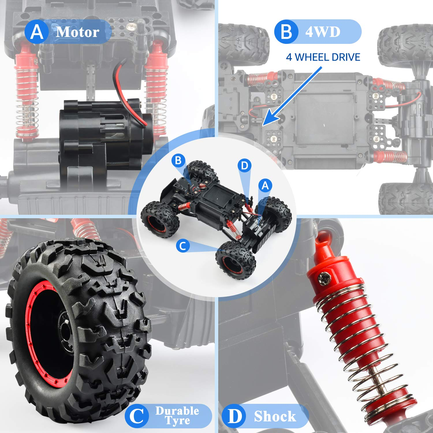 Remote Control Trucks Monster RC Car 1: 12 Scale Off Road Vehicle 2.4Ghz Radio Remote Control Car 4WD High Speed Racing All Terrain Climbing Car Toys Car Gift for Boys (Red) by NQD (Image #3)