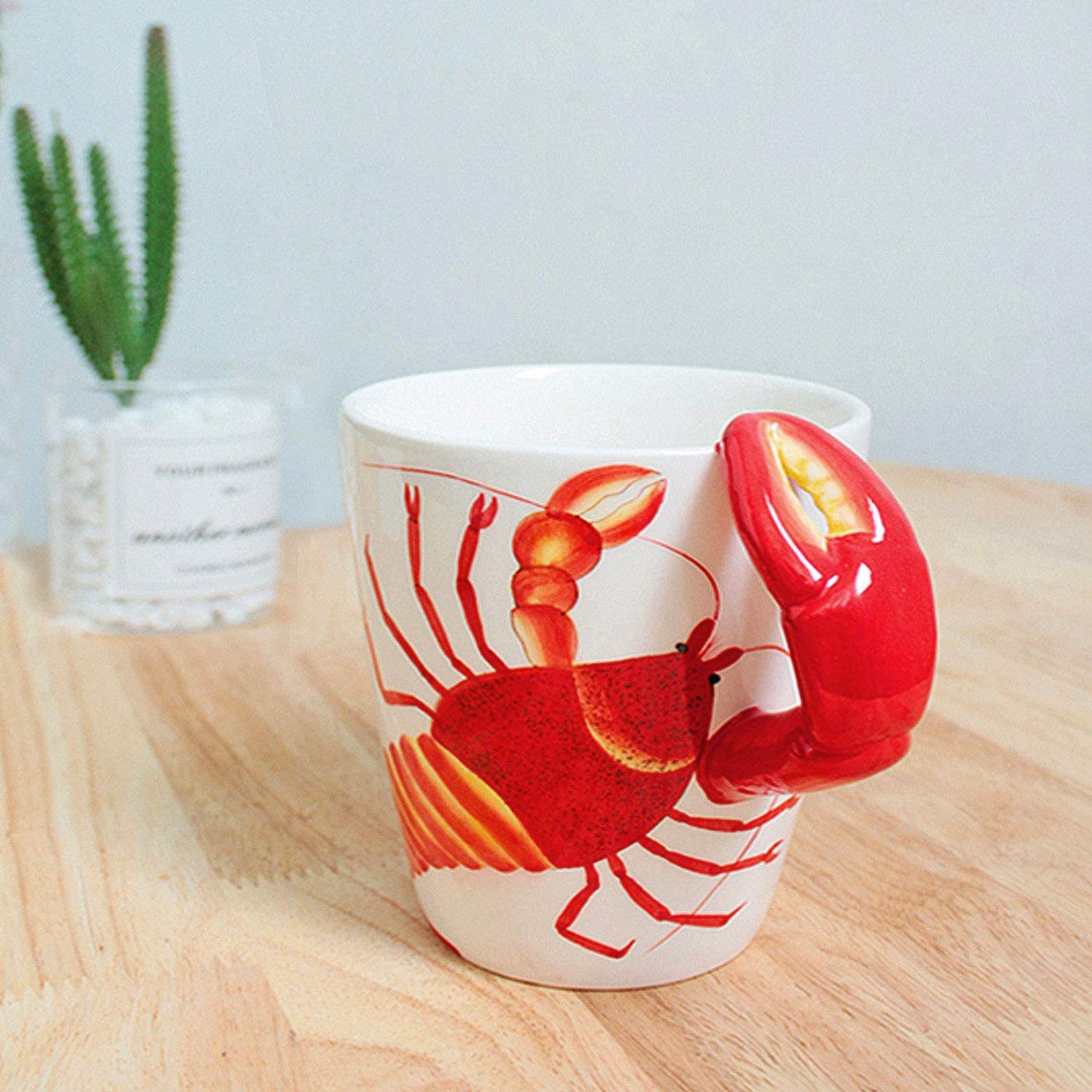 Crab Crab 3D Handle Handmade Large Tea Cup 13.5oz Novelty Funny Hand Painted Holiday and Birthday Gift for Coffee /& Tea Lovers Unique Ideal Gifts Ceramics Cup