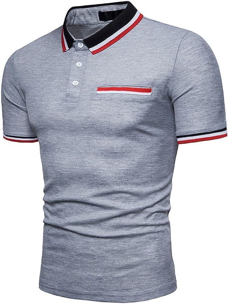 F/_Gotal Mens T-Shirts Summer Short Sleeve Regular-Fit Casual Basic Sport Tee Shirts Blouse Tops Polo Shirt for Men