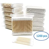1200pcs Wooden Cotton Swabs, 100% Cotton Double-Tipped, Purification Dust-Free Sterile Cotton Swab,Eco Friendly…