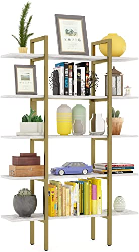 Teraves 5-Tier Bookshelf Wood Bookcase