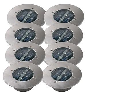 Hervorragend 8er SET moderner Solar LED Bodeneinbaustrahler rund in Edelstahl WO31