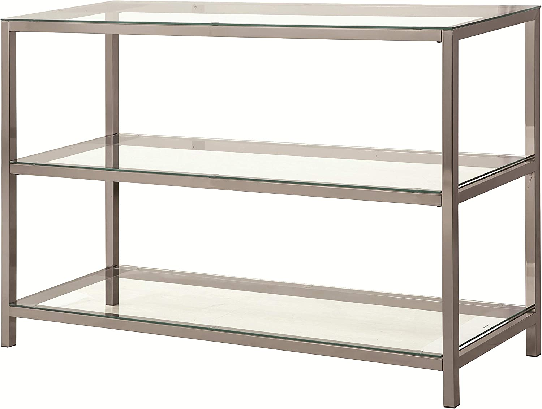 Coaster Home Furnishings 2-Shelf Sofa Table Black Nickel and Clear