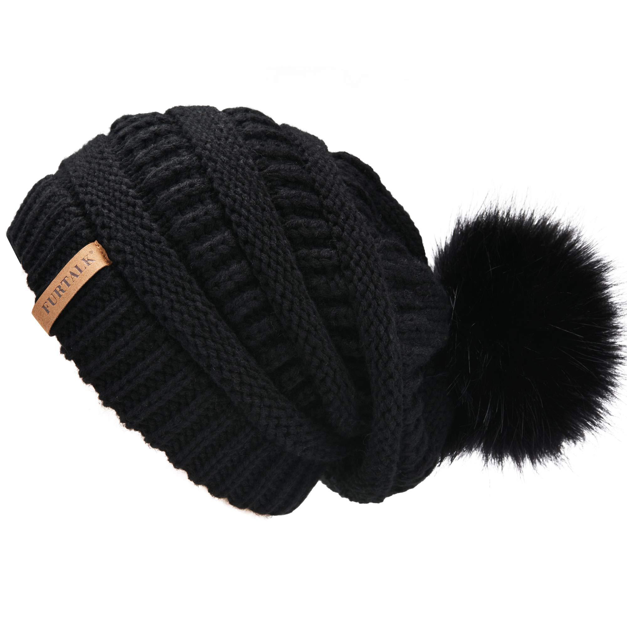 a7ef8ce1c3b FURTALK Women s Thick Slouchy Real Fox Raccoon Fur Pom Pom Winter Knit  Beanie Bobble Hat Caps