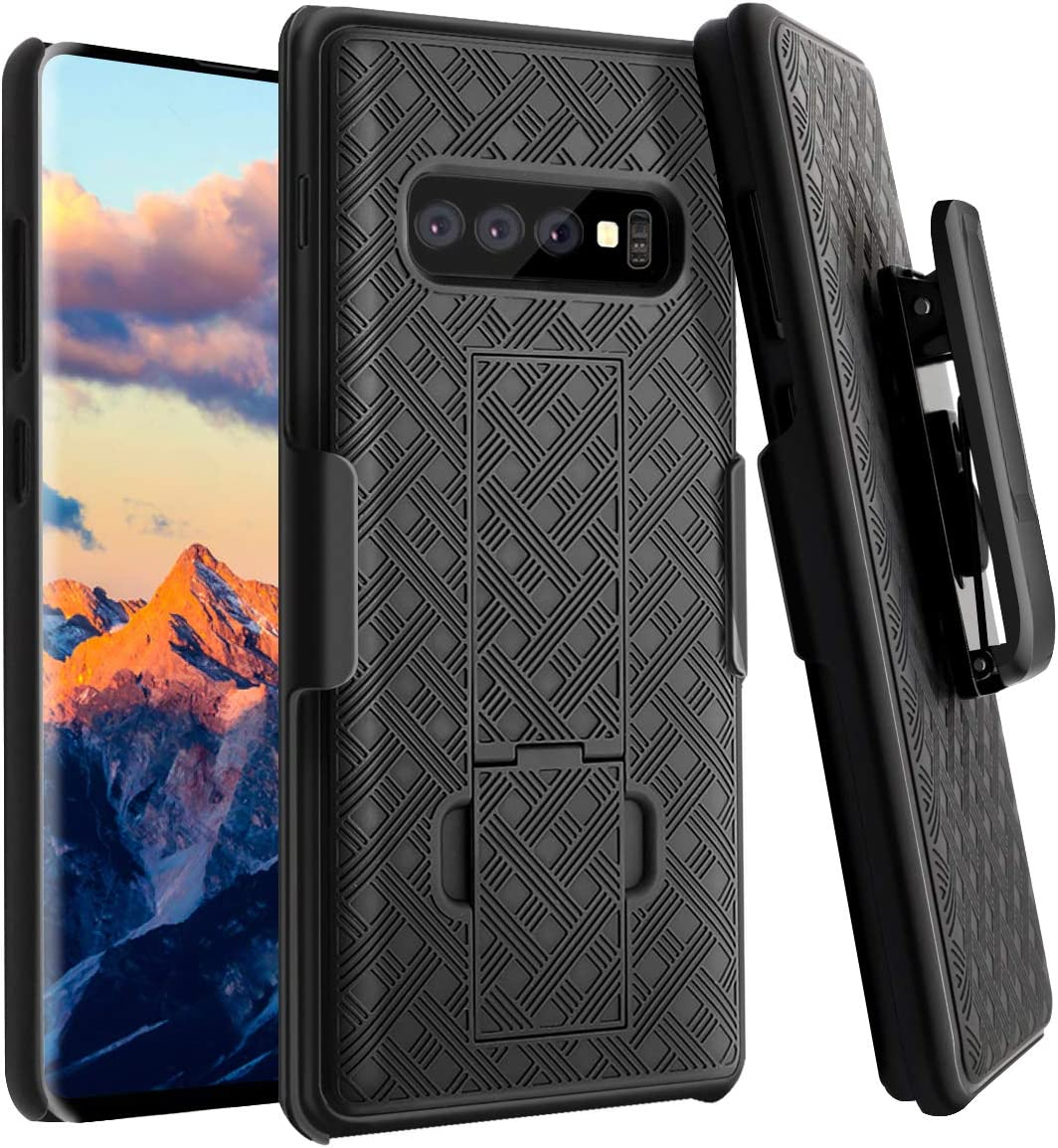 Galaxy S10 Plus Case, Fingic S10 Plus Combo Shell Holster Case Slim Fit Shell with Swivel Belt Clip Holster Bulit-in Kickstand Protective Cover for Samsung Galaxy S10 Plus 6.4 inch - Black