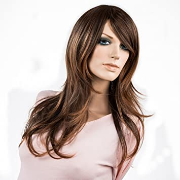 Namecute Long Ombre Brown Wig Natural Curly Kanekalon Synthetic Wigs for Women+ Free Wig Cap