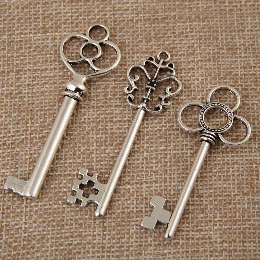 Bingcute Mixed Set of 30 Vintage Bronze Skeleton Key Charm with 30PCS Kraft Paper Gift Tags /& 30 Feet Natural Jute Twine