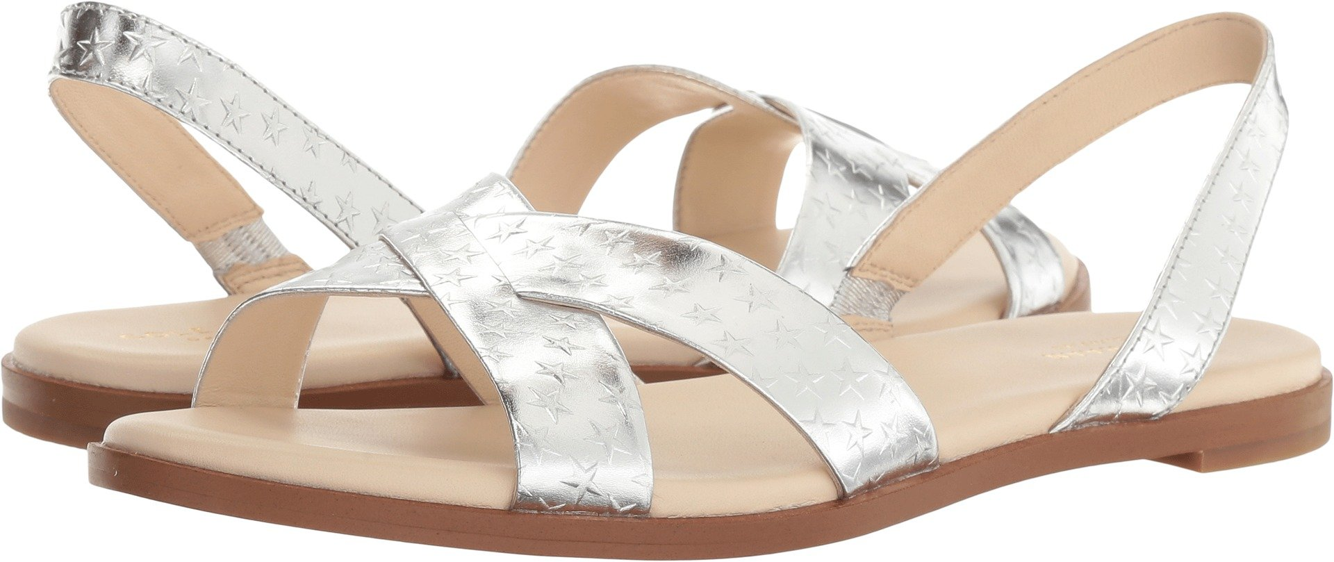 Cole Haan Women's Anica Sling Sandal, Silver/Metallic Star Print, 5 B US
