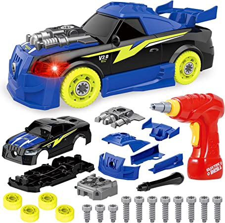 Coogam Take Apart Racing Car with Electric Screwdriver Tool, Fine Motor Skill Toy Car Construction Set STEM Building Learning Game with Light and Sound Gifts for 3 Year Old Boys and Girls (26PCS)