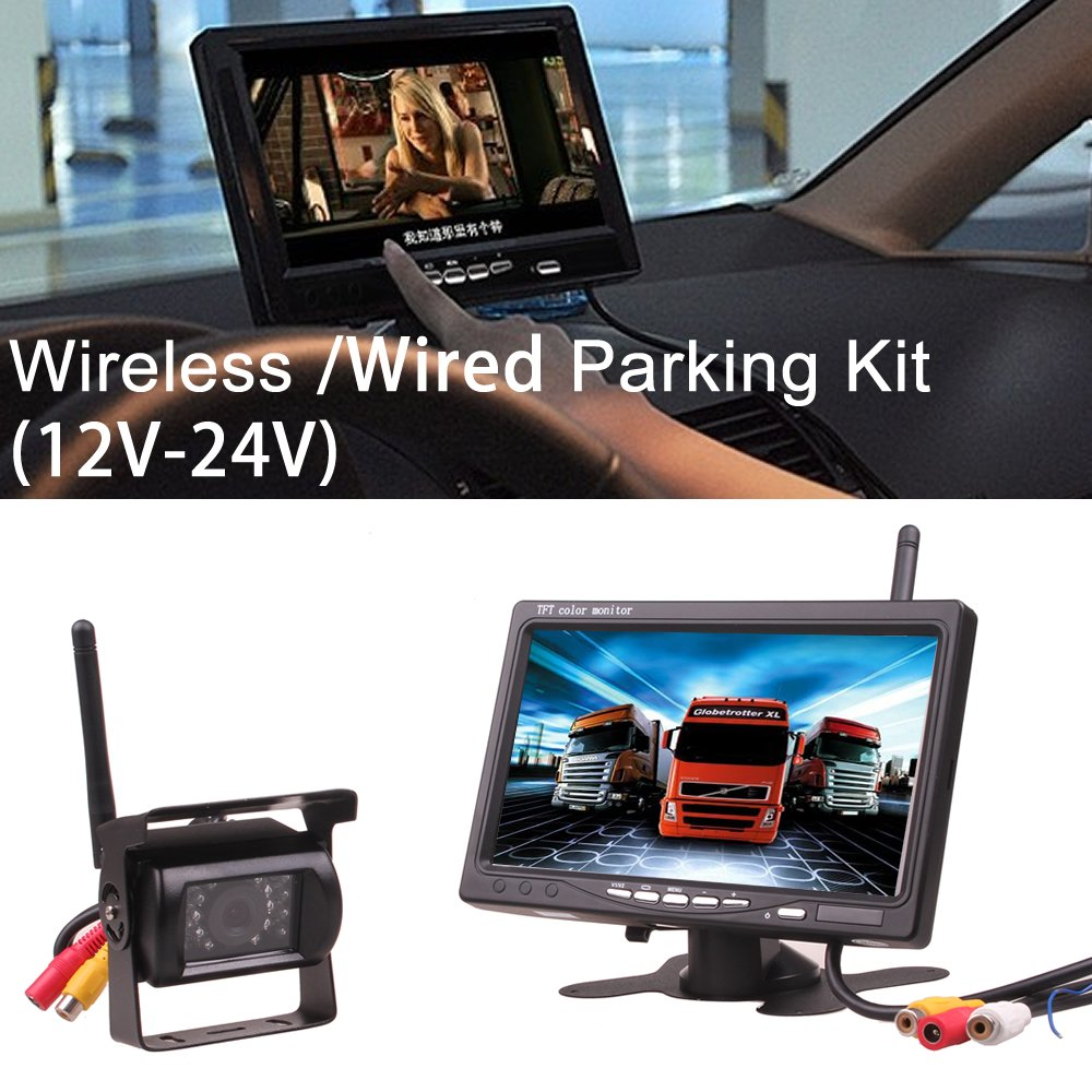 5 Inch Car Truck Bus 12V 24V 2.4GHz Wireless Camera Monitor Parking Kit Rear View Backup IR Night Vision Wide Angle with HD Dash LED Digital by HitCar