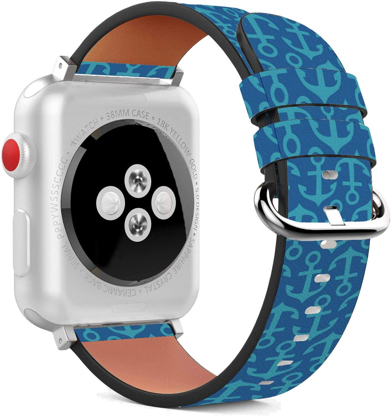 Compatible with Apple Watch - 38mm / 40mm (Serie 5,4,3,2,1) Leather Wristband Bracelet with Stainless Steel Clasp and Adapters - Teal Anchor
