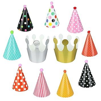 Amazon.com: vlovelife Fiesta de cumpleaños Sombreros de cono ...