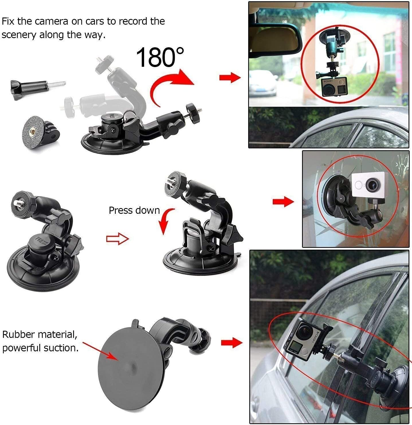 AKASO Campark Crosstour Accesories Victure Xiaomi YI 4K LITE Eyeon Large Diameter 9.5cm Car Suction Cup Mount Windscreen Windshield Dashboard Bonnet for GoPro Hero 2018 7 6 5 4 Apeman