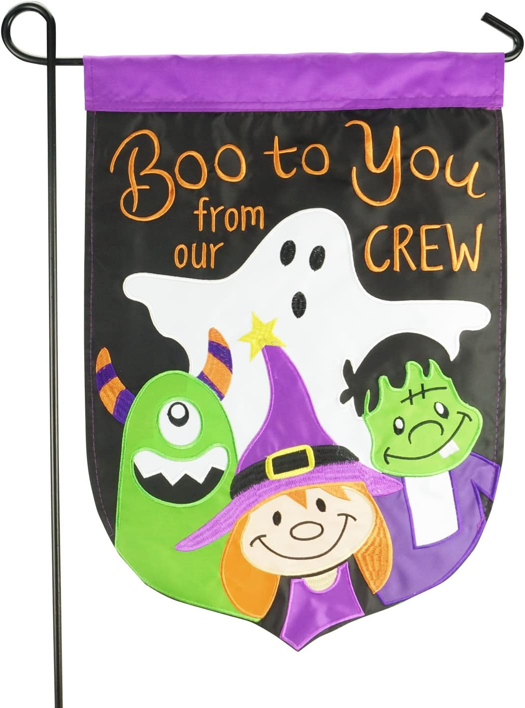 LAYOER Home Garden Flag 12 x 18 Inch Halloween Boo Decorative Double-Sided Embroidered Applique 13 x 18 Inch