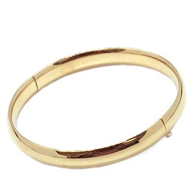 1bd8b76a49940 Ritastephens 14k Solid Gold Classic Shiny Hinged Bangle Bracelet 5mm  (yellow, white, or Rose Pink Gold)