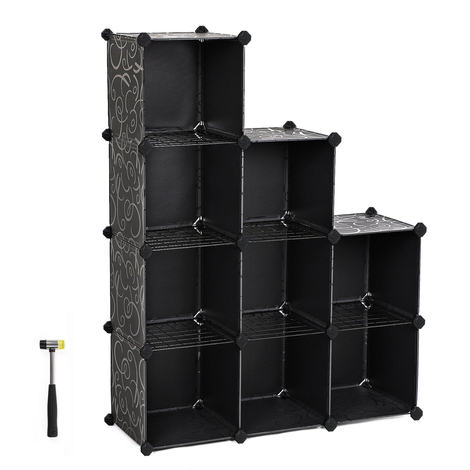 SONGMICS Cube Storage, Plastic Cube Organizer Units Shelf, DIY Modular Closet Cabinet, Bookcase, Includes Rubber Mallet and Anti-Tipping Device 9-Cube Black ULPC33T
