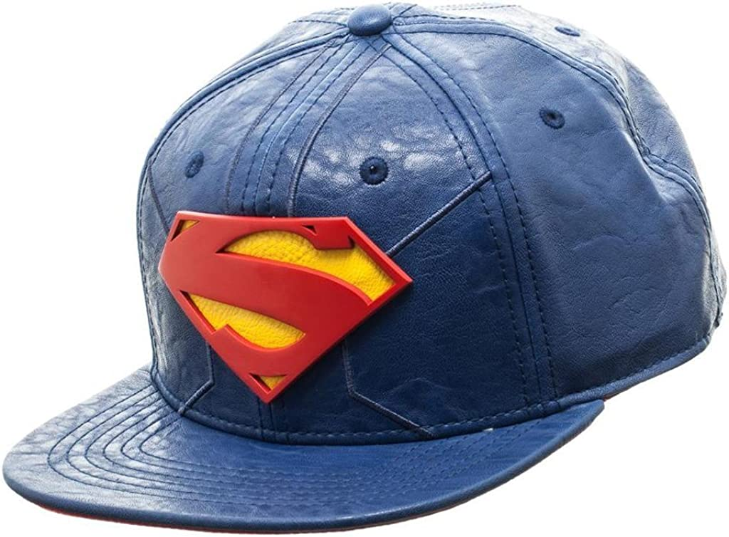 bioworld Men/'s Licensed Superman PU Leather Snapback Hat O//S Blue