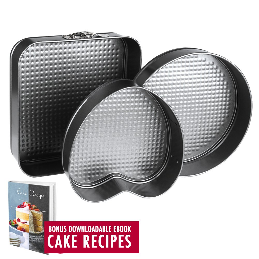 Springform Pan Baking Pans | Even Baking | Set of 3 Pcs Non Stick Leakproof Cake Pans | Carbon Coated Steel Cheesecake Pan with Removable Bottom with 10 Square 10 Round 9 Heart Shaped Cake Pan Springcake