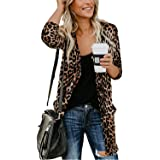 Women Lightweight Cardigan Leopard Printed Button Down Cardigans Shirt W Pockets(S-2XL)