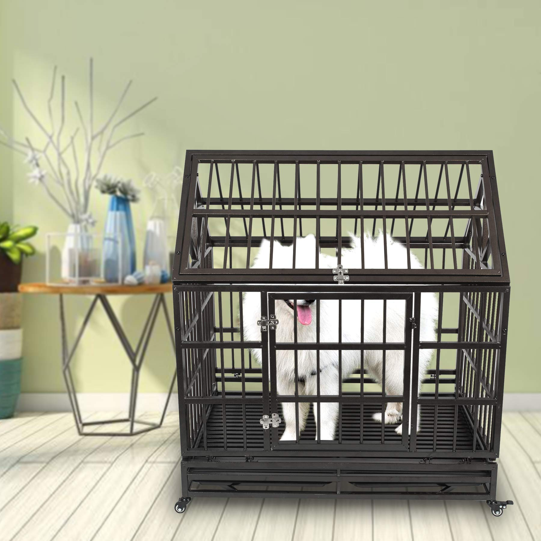 Haige Pet Your Pet Nanny Heavy Duty Dog Crate Cage Kennel Strong Metal for Large Dogs, Easy to Assemble Pet Playpen with Patent Lock & Four Wheels by Haige Pet Your Pet Nanny (Image #8)