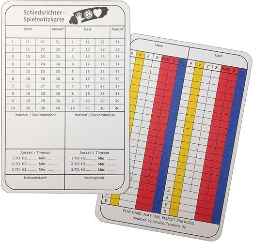 50 b+d Schiedsrichter Schiri Spielnotizkarten Notiz Karten Fußball//Handball