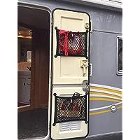 2 Pcs Van Storage Cargo Net,Wall Elastic Nylon Double-Layer Mesh Pocket for Camper Caravan SUV Kitchen RV Bedroom