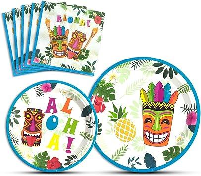 Amazon.com: WERNNSAI - Platos y servilletas de Aloha ...